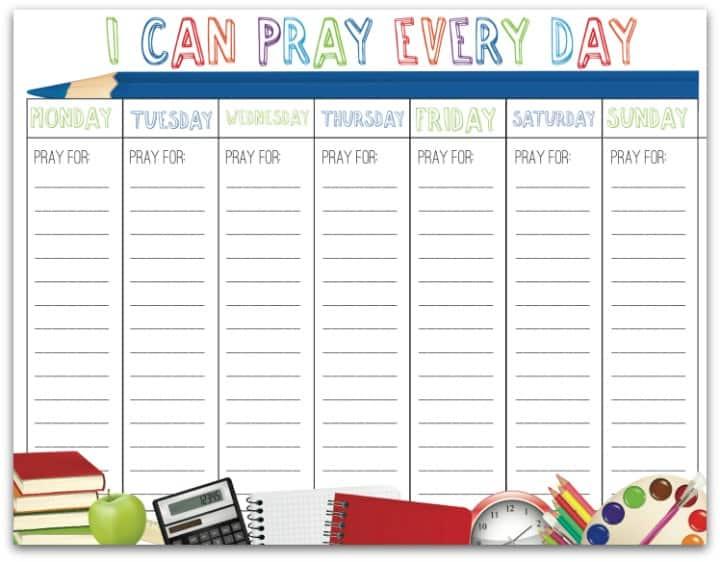 Free Printable Back to School Prayer Calendar