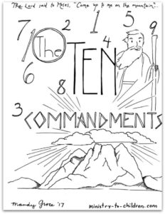 Bible Coloring Pages of the 10 Commandments