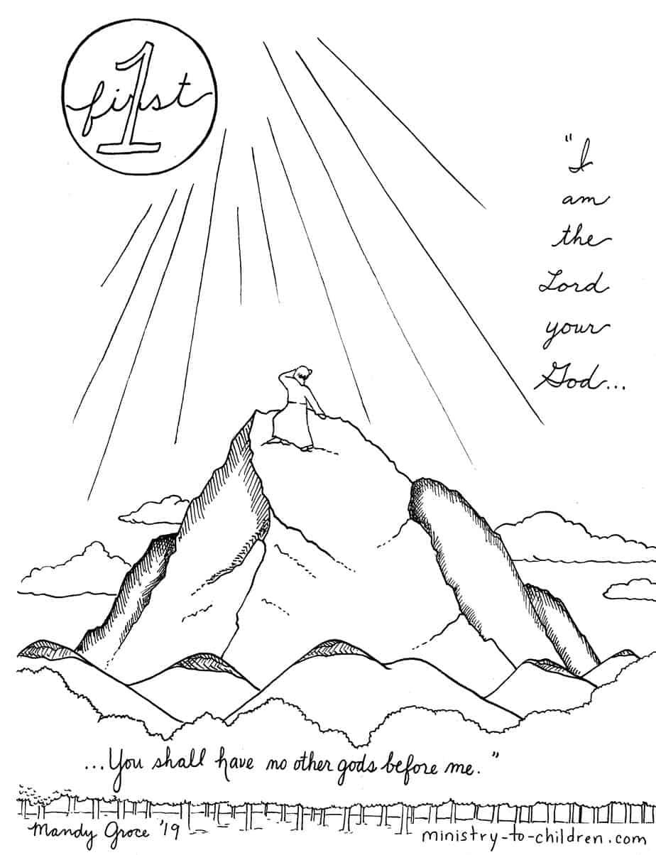 1st Commandment Coloring Page \
