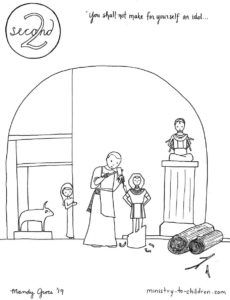 2nd commandment coloring page no idols