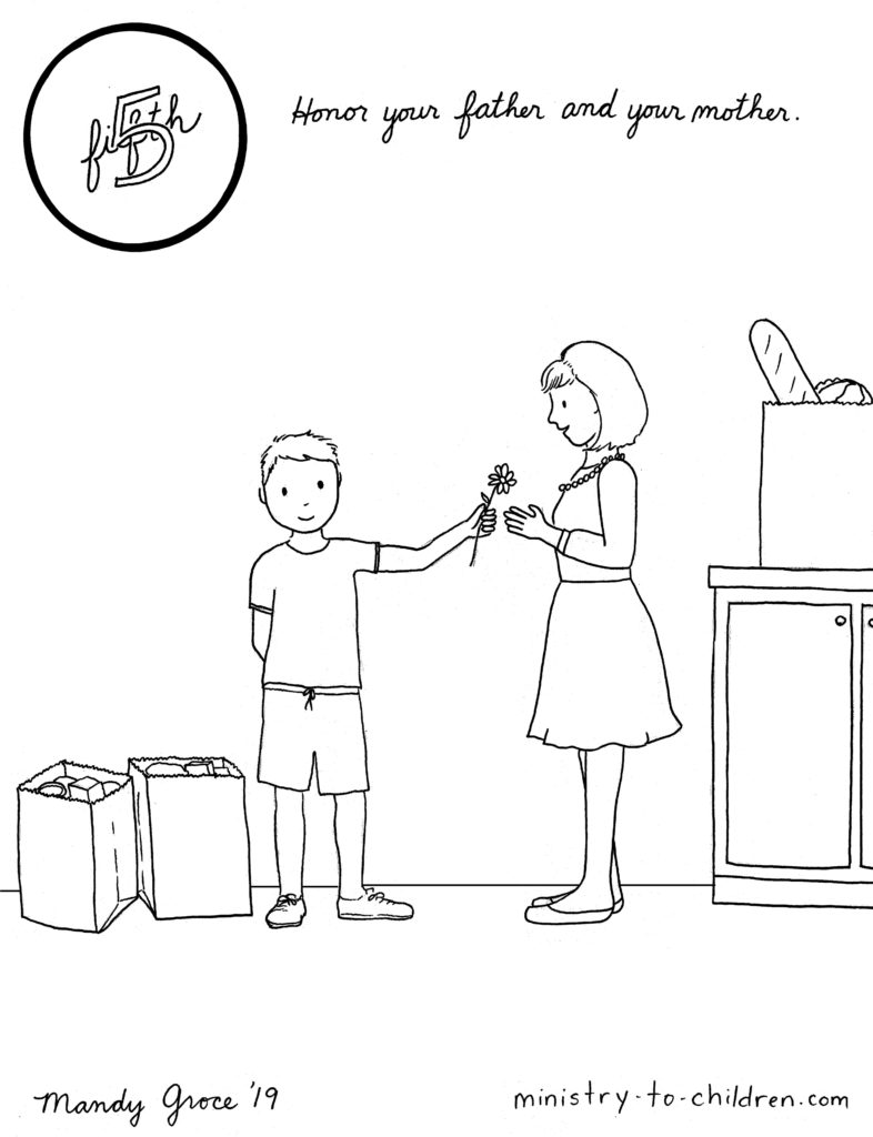Boy giving mother a flower - honor your father and mother text - line drawing coloring page