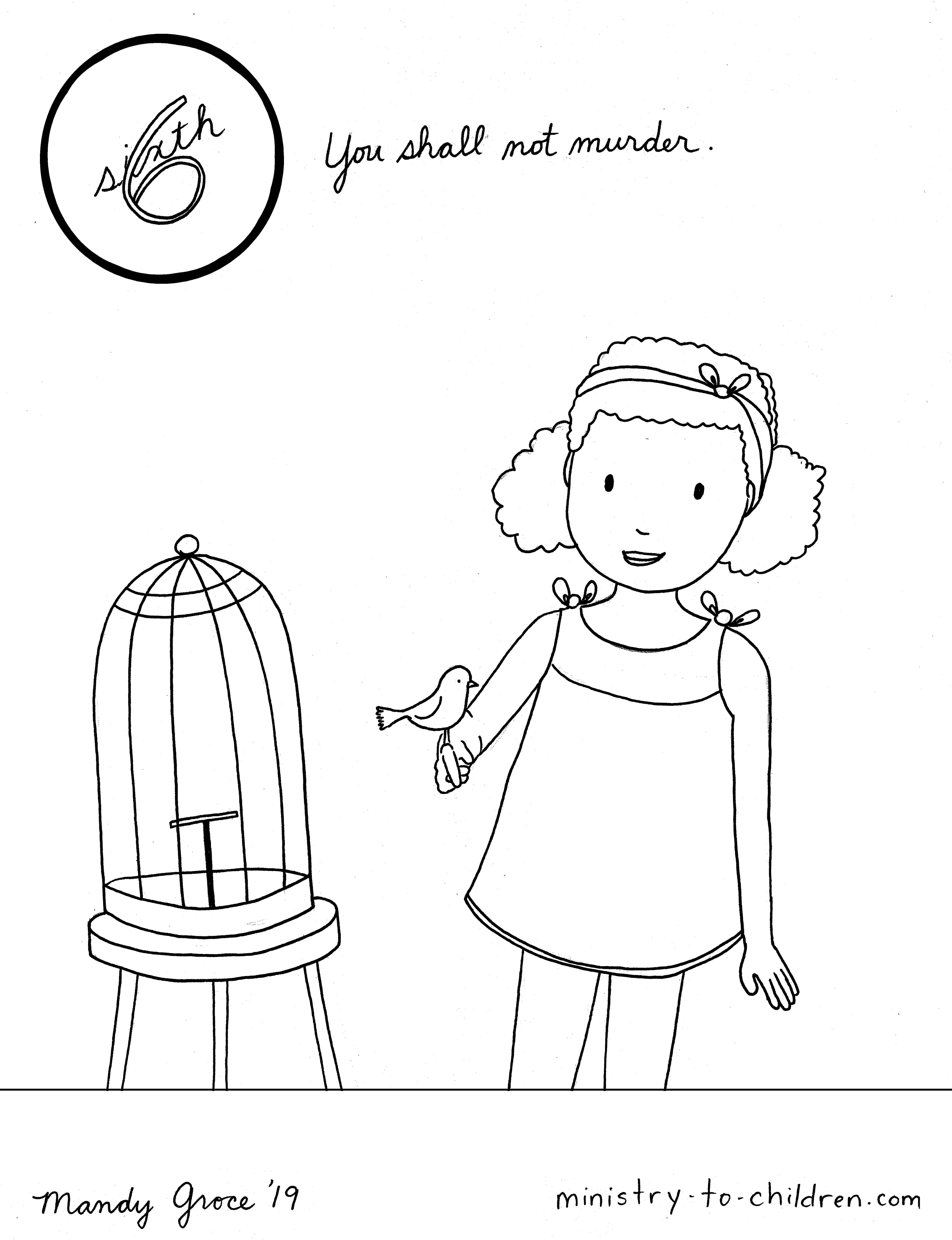 little girl coloring pages not copyrighted | 6th Commandment Coloring Page: You Shall Not Murder ...