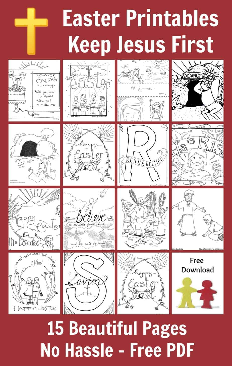 Easter coloring pages for kids religious free pdf