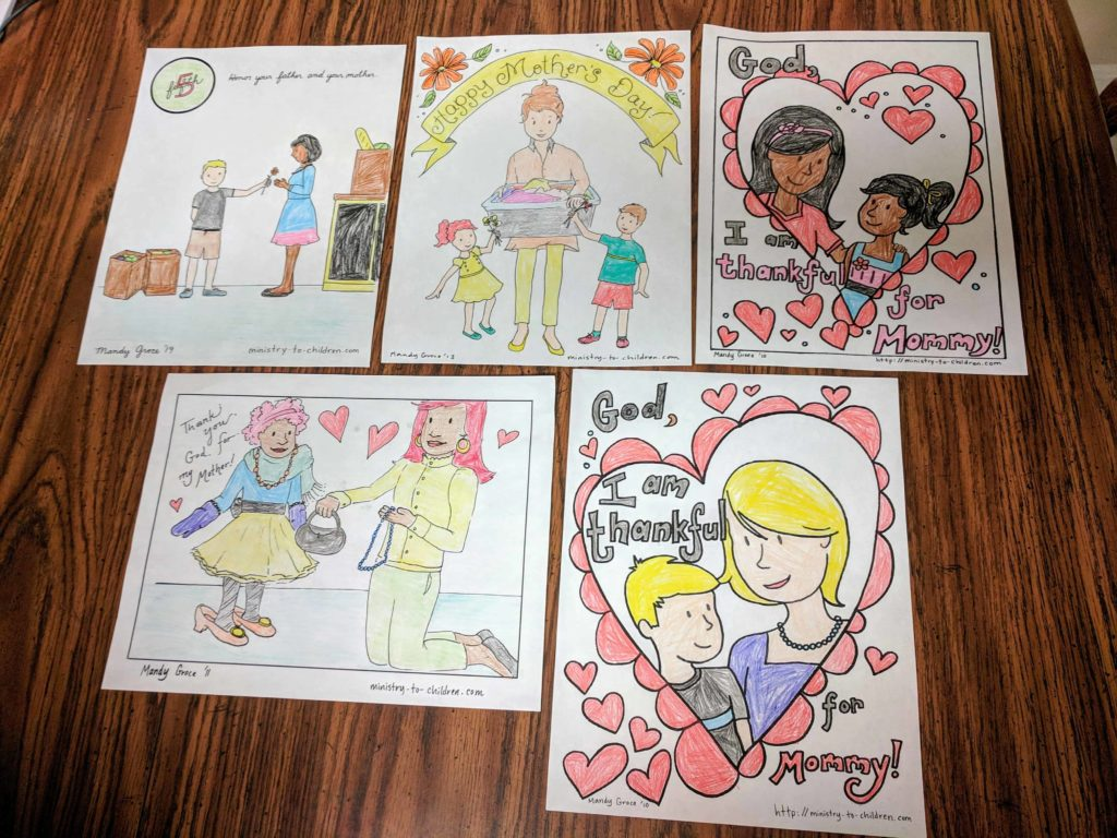 Example completed versions of the mother's day coloring pages.