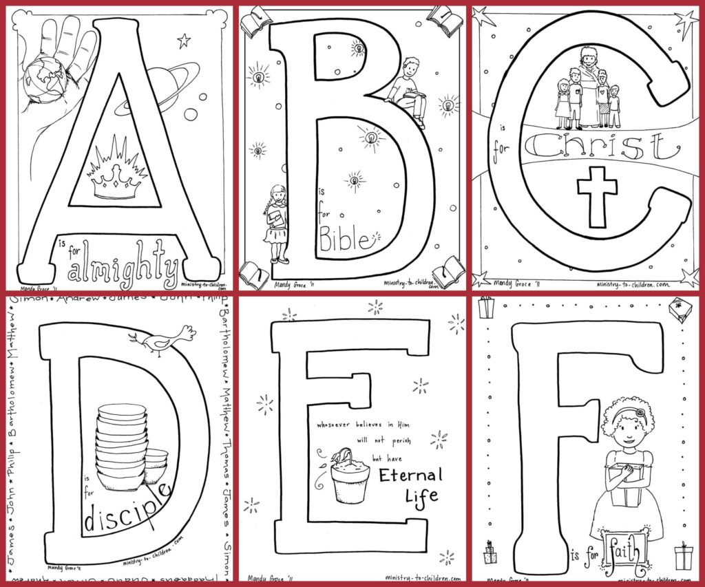 Bible Alphabet Coloring Pages - Free PDF download to print