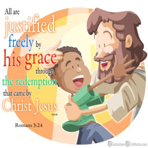 All are justified freely by his grace - Jesus embracing child clip art