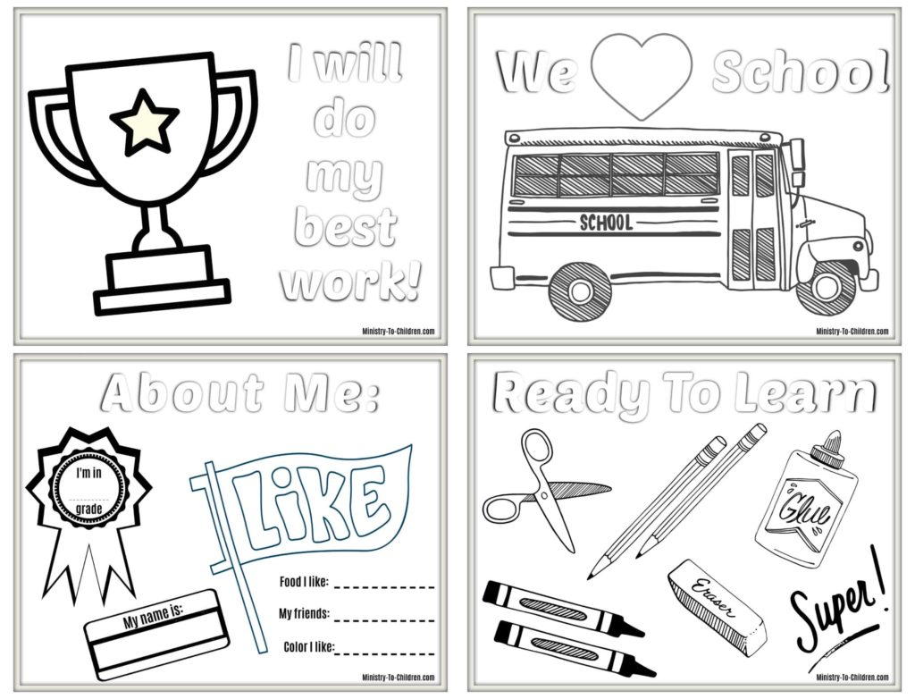 6 Back to School Coloring Pages