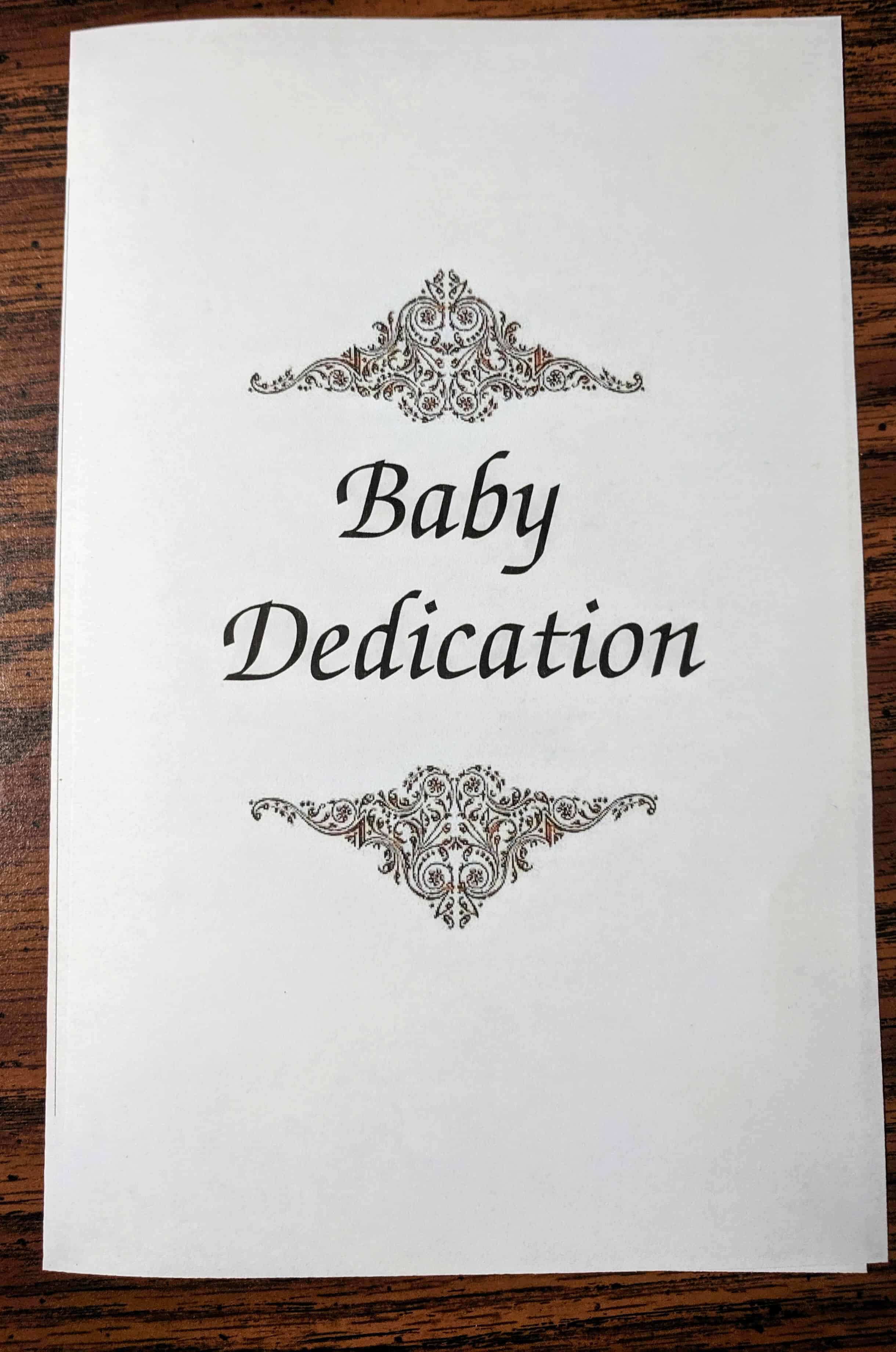 Baby Dedication Ceremony Includes Prayer Message Certificate