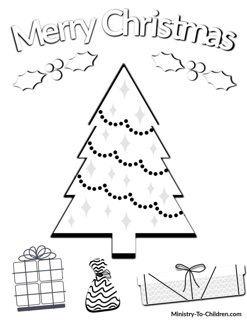Christmas tree and presents coloring page with Merry Christmas