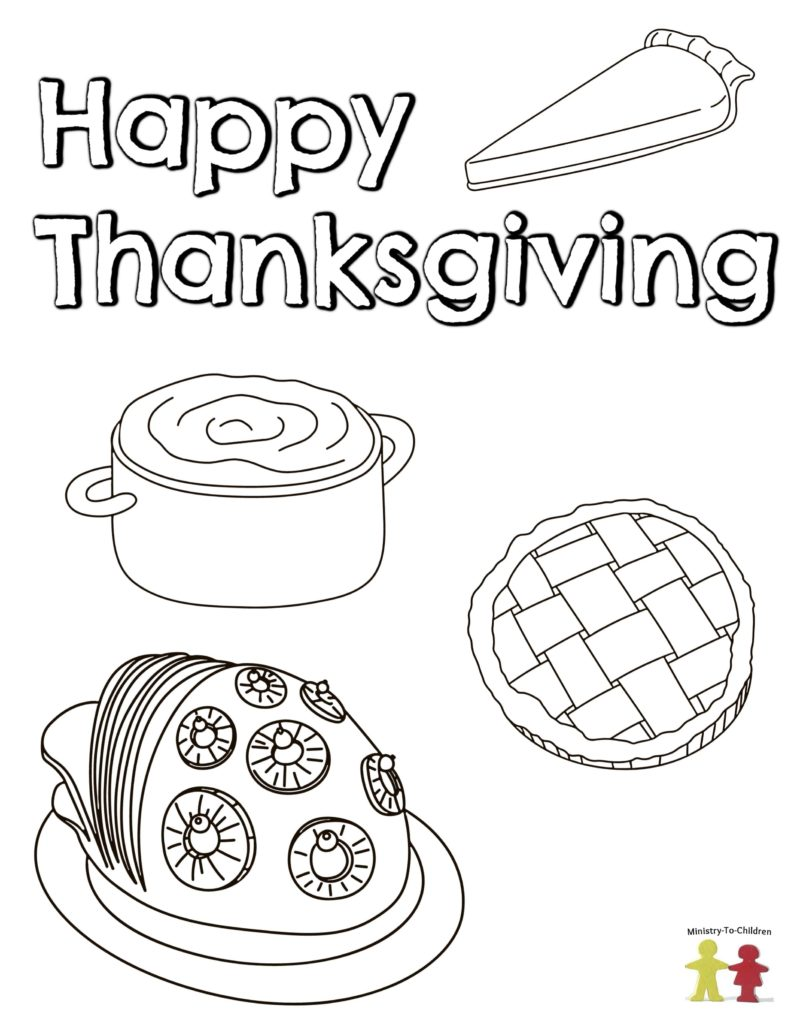 Thanksgiving Food coloring pages dinner