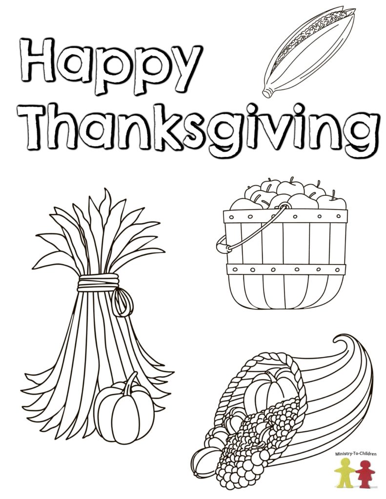 happy thanksgiving - fall themed coloring page