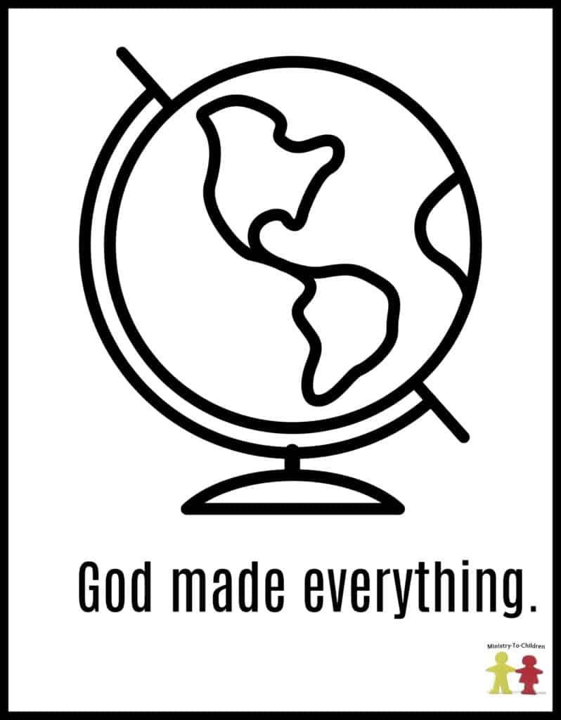 God Made Everything - Preschool coloring PAge