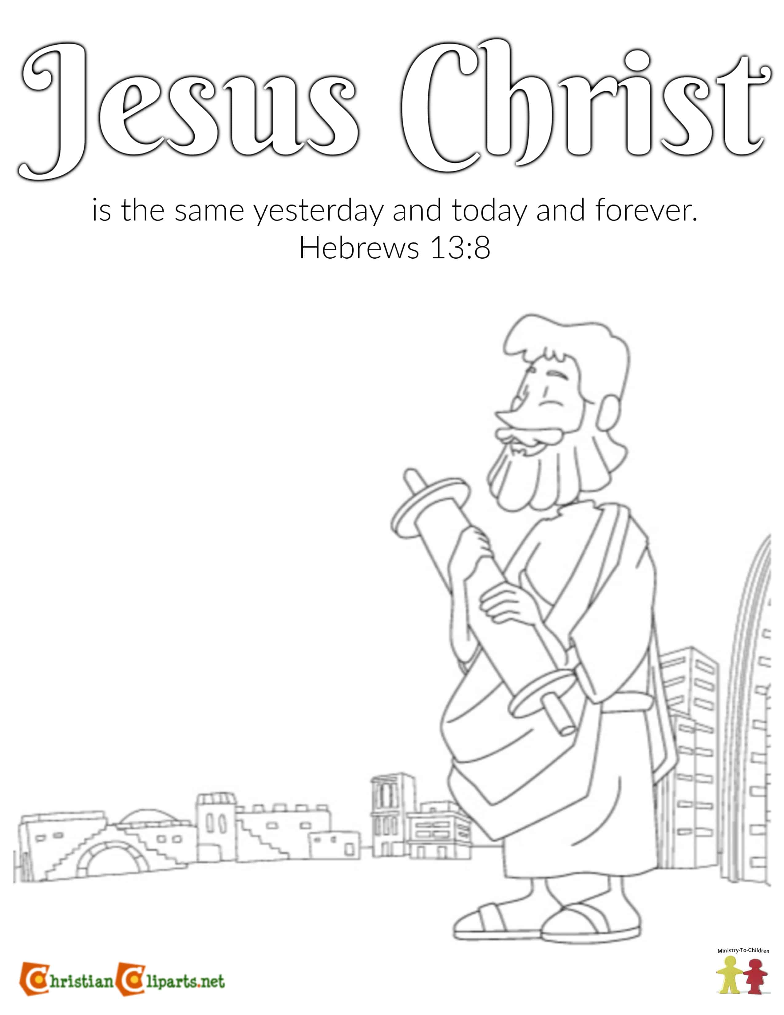 Coloring Page (Hebrews 13:8) Jesus Never Changes - Ministry ...