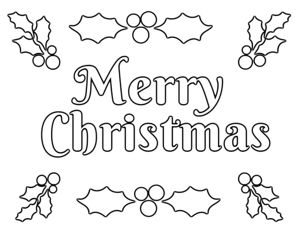 Merry Christmas Coloring Page with Holly