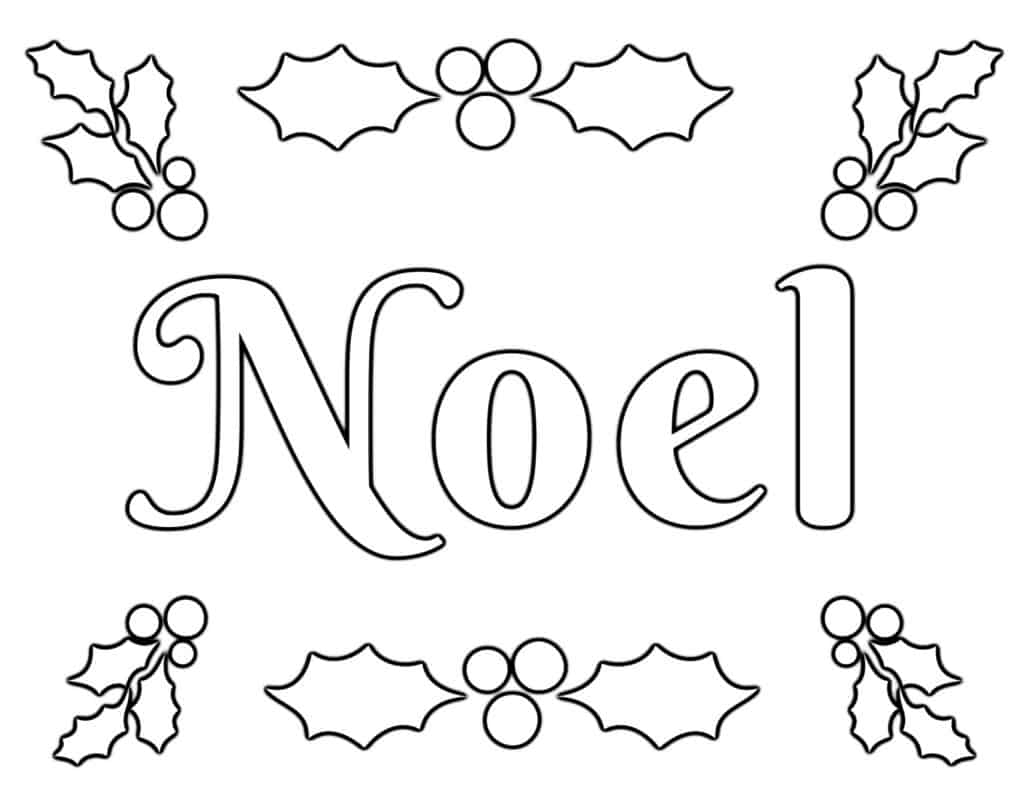 NOEL Coloring Page with Holly