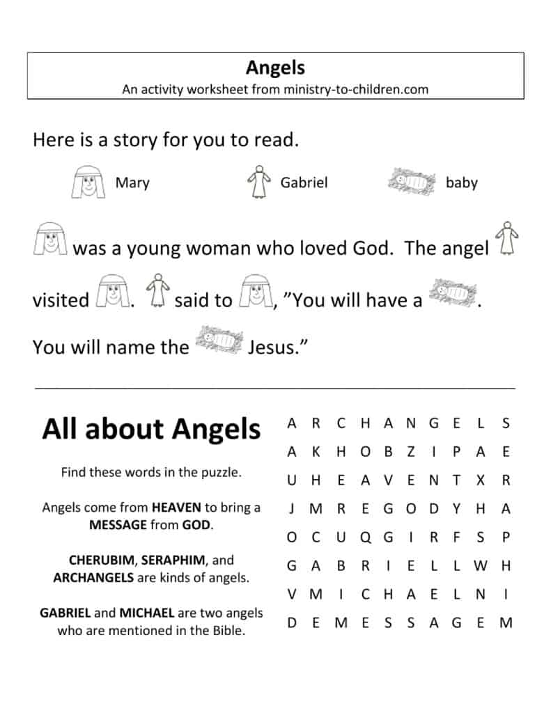 angels worksheet for Sunday school
