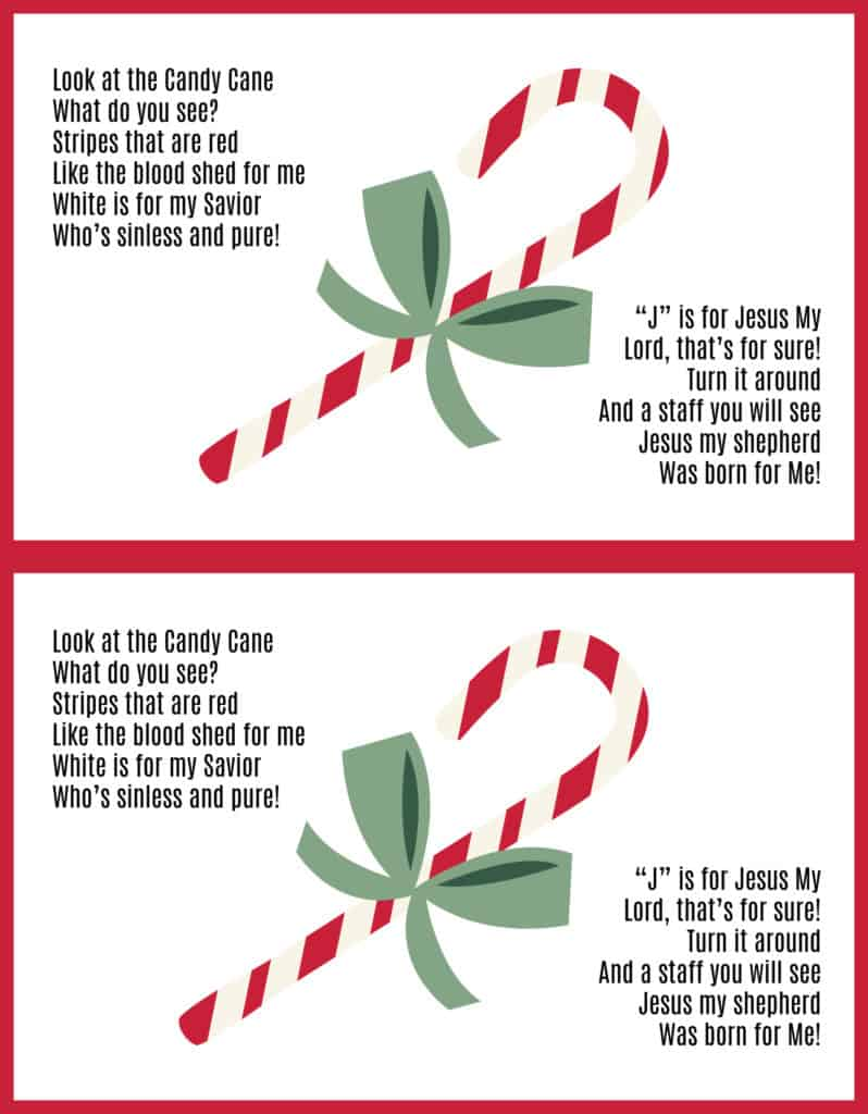 Printable Candy Cane poem about Jesus