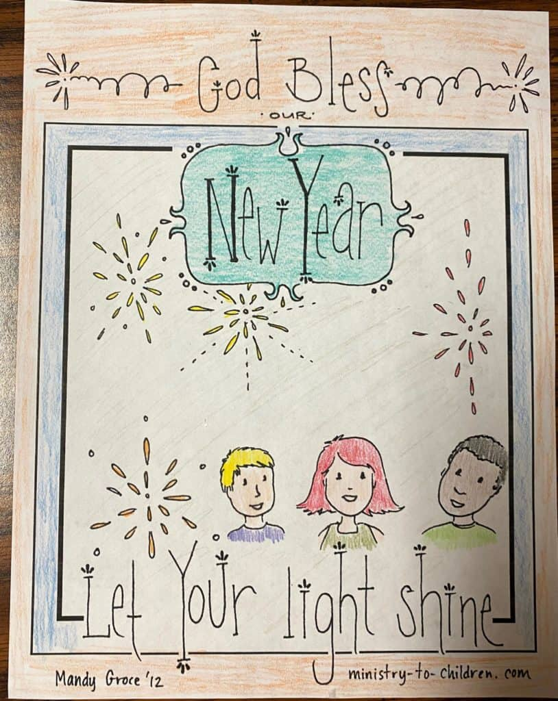 religious new years coloring page