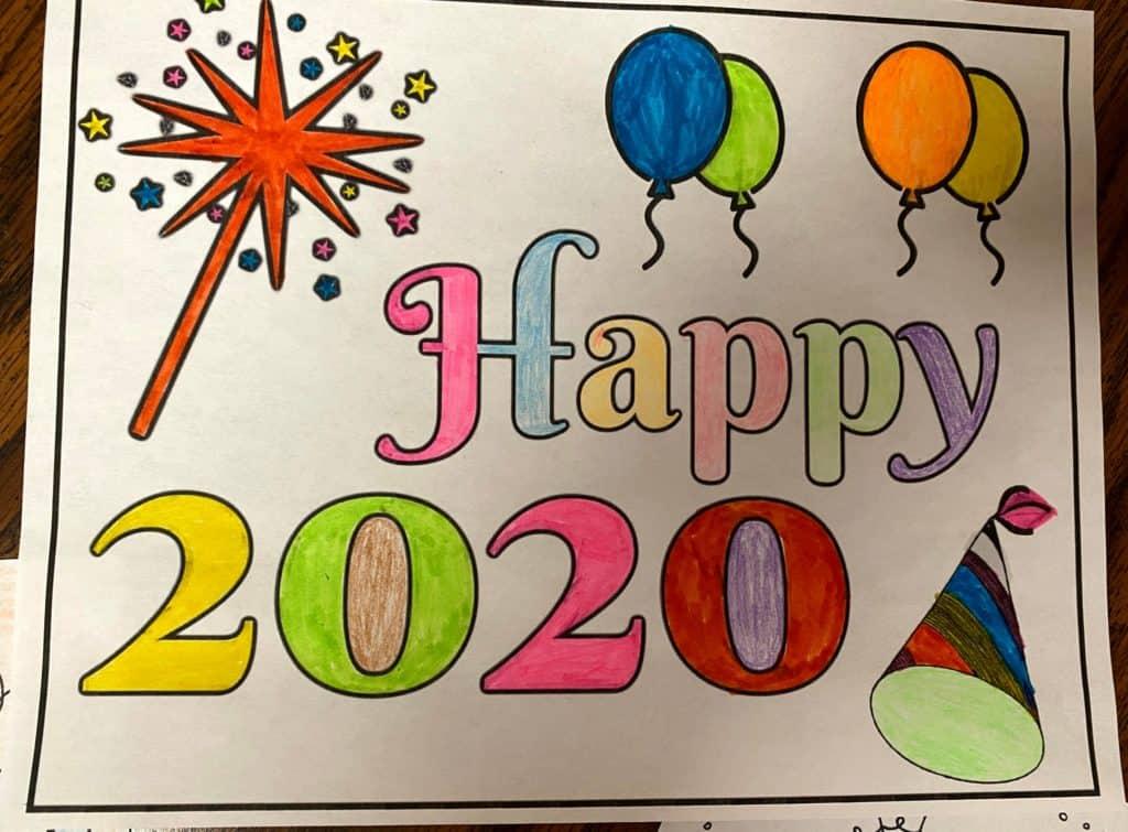 happy 2020 coloring page
