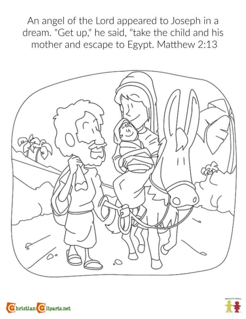 Coloring Page: Mary and Joseph Escape to Egypt