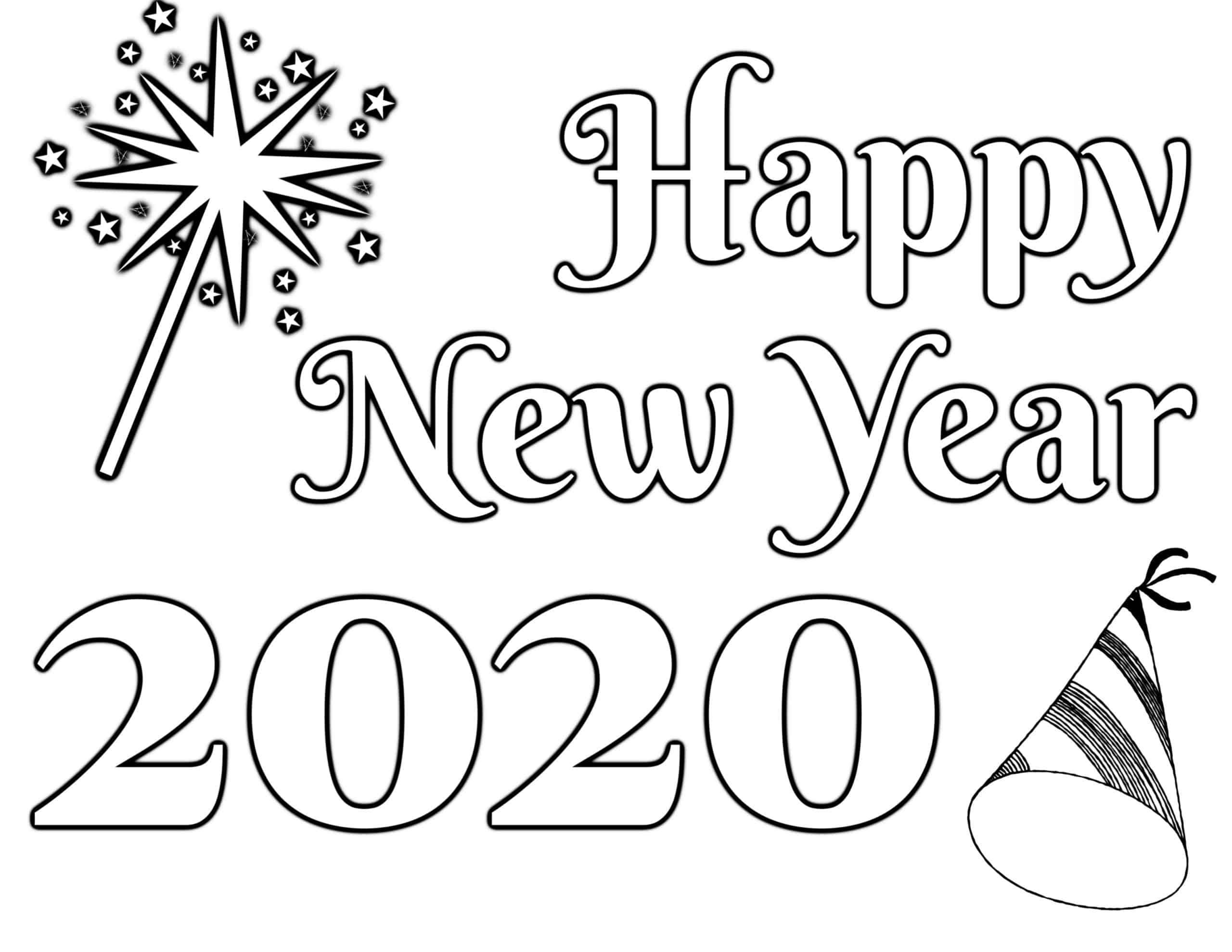 New Year\'s Coloring Page 2020 \