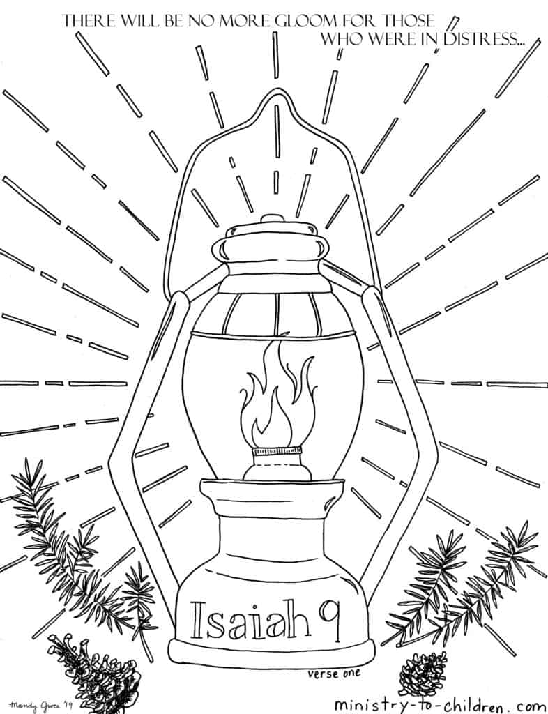 Isaiah 9 verse 1 Coloring Page - There will be no more gloom for those who were in distress.