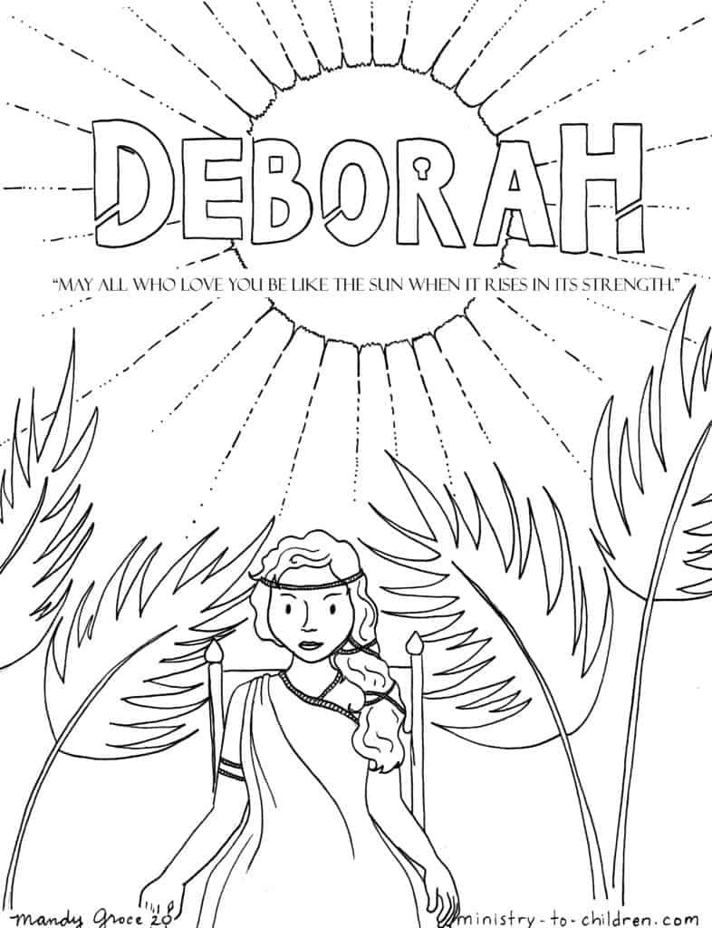 Deborah the Judge of Israel - Bible Hero Coloring Page