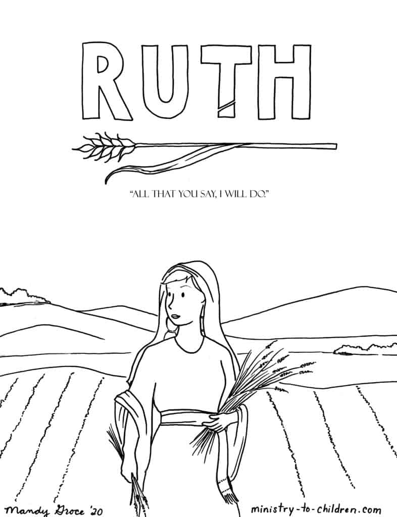 Ruth in the fields - Bible Hero coloring page