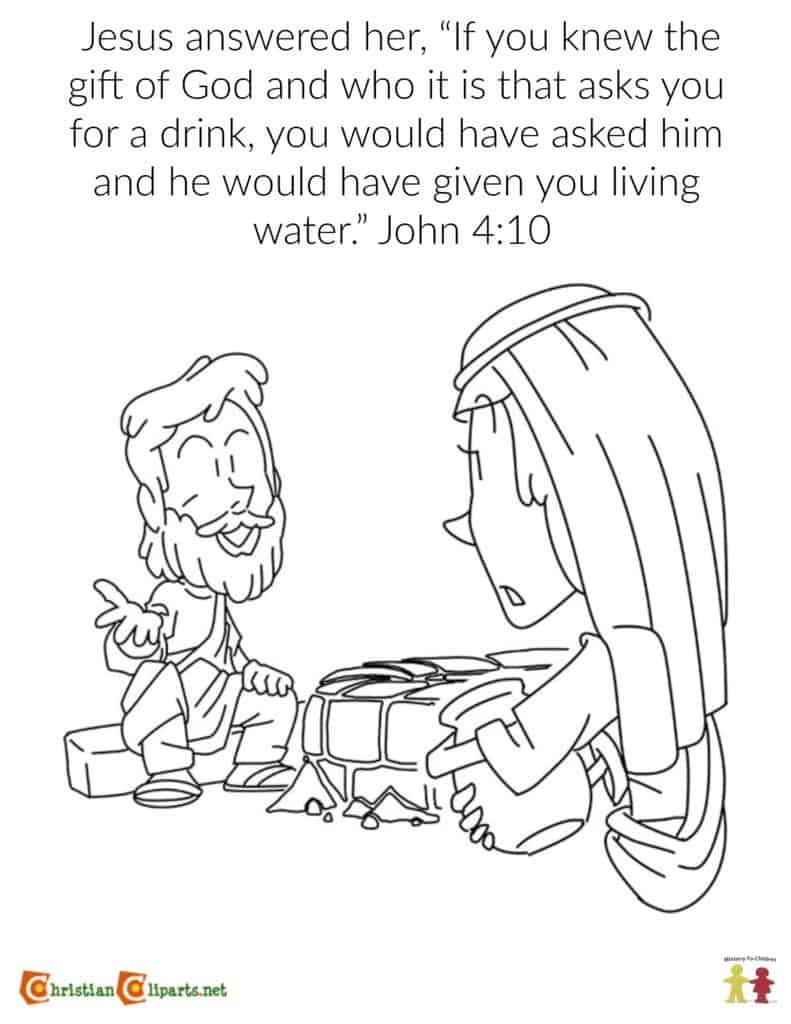 Coloring Page: The Woman at the Well (John 4:10)